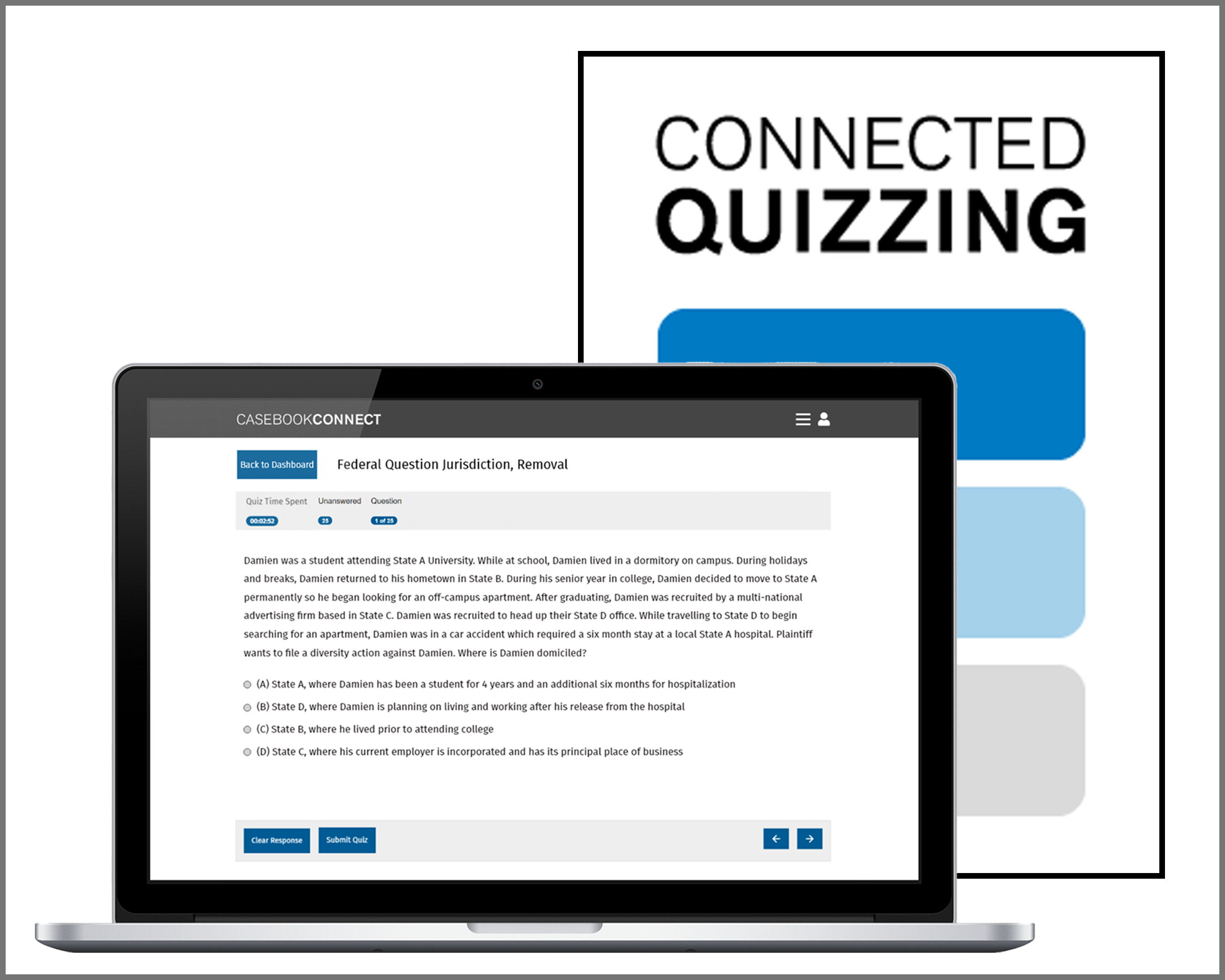 Connected Quizzing appears on a laptop with CQ icon behind it